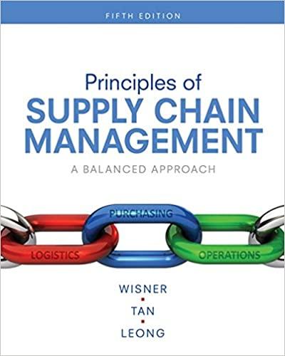 Principles of Supply Chain Management A Balanced Approach, 5th Edition Joel D. Wisner, Keah-Choon Tan, G. Keong Leong Test Bank